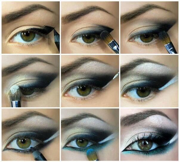 Сложный вечерний макияж для зеленых глаз