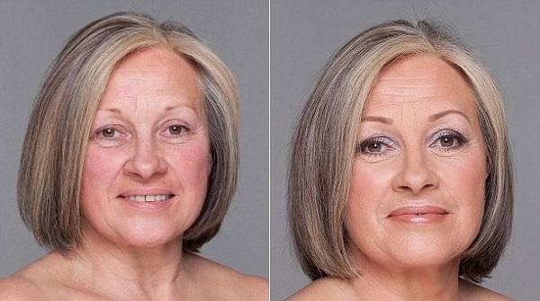 Без и с лифтинг макияжем