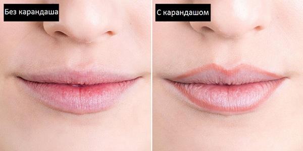 Сделать губы объемными поможет использование карандаша