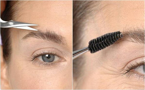 Для придания лучшей формы бровям, их следует подстричь и уложить
