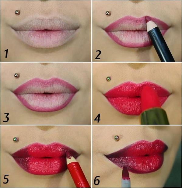 Этапы создания макияже губ по технике омбре