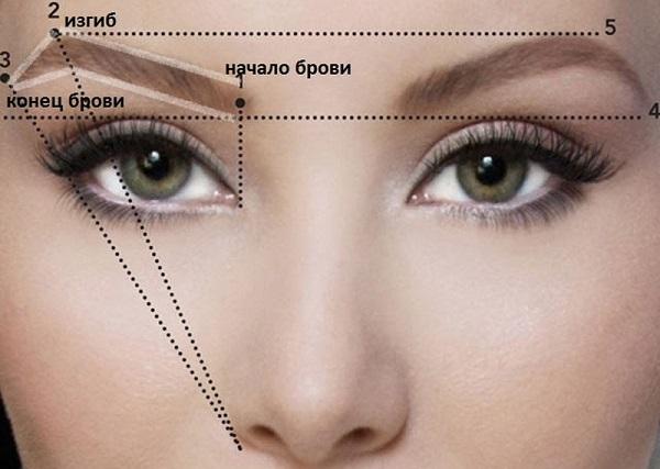 Для правильного нанесения макияжа в форме домика, следует очертить линии изгиба