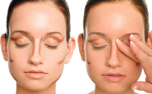 Откорректировать толщину носа можно с помощью темного тона и растушевки